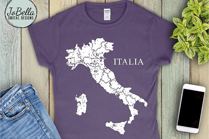 Italy SVG and Printable Distressed Map with Regional Borders
