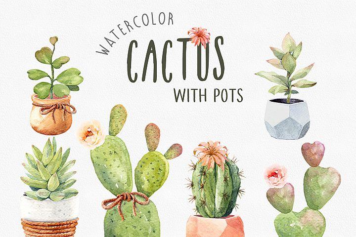 Watercolor Clipart Cactus Cacti Succulents with Pots.