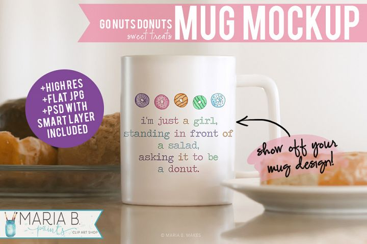 Donut Themed White Mug Mockup