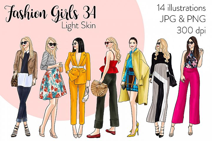 Fashion illustration clipart - Fashion Girls 34 - Light Skin
