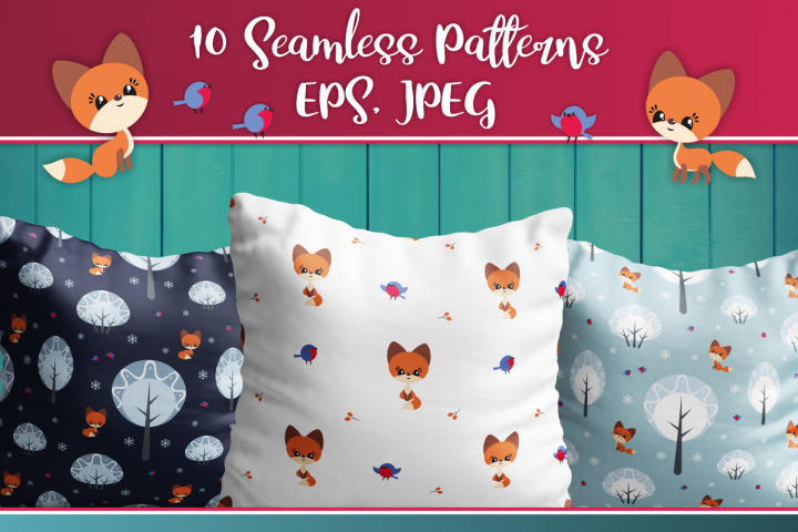 Cute fox. Seamless patterns