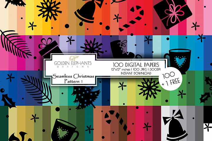 100 Seamless Christmas Background Digital Paper