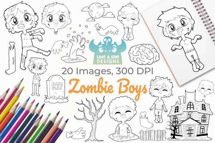 Zombie Boys Digital Stamps