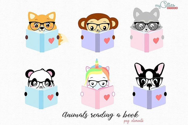 Colleciont of kawaii animals reading a book png elements