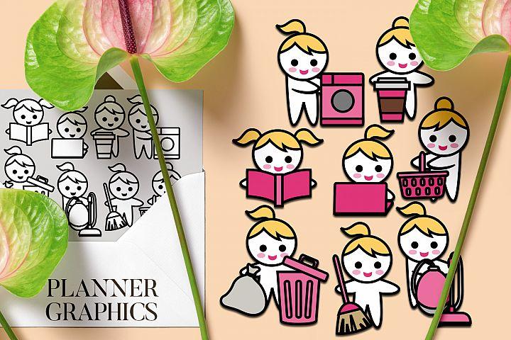 Planner girl routine tasks graphics illustration