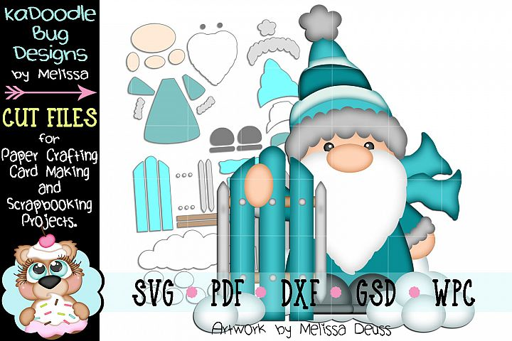 Snow Sled Gnome Cut File - SVG PDF DXF GSD WPC