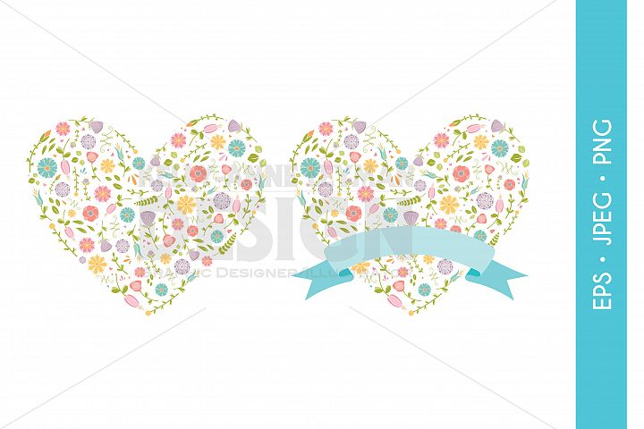 Digital Flower Heart Design Elements for DIY Invitations