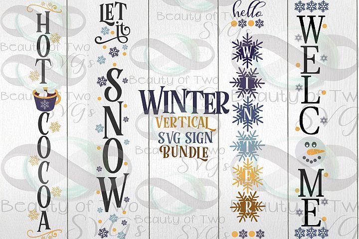 Winter Vertical svg Sign Bundle, 4 Winter svg designs