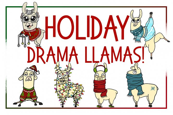 Holiday Clipart-llama Clipart-xmas Clipart-Cartoon-Sticker Clipart-Digital-Llama-alpaca Art-Funny-Digital Llama-Llama Drama-Commercial