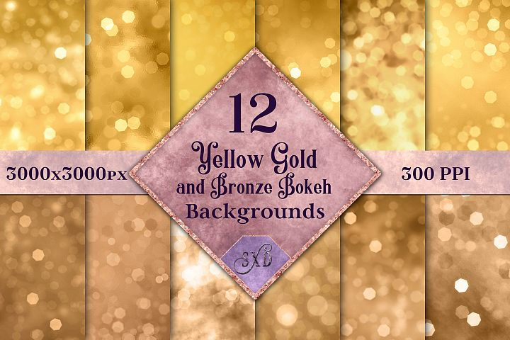 Yellow Gold and Bronze Bokeh Backgrounds - 12 Image Textures