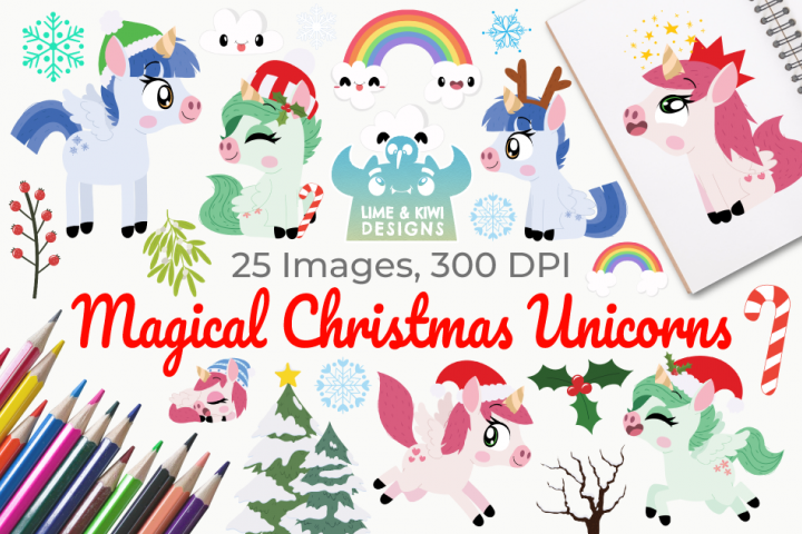 Magical Christmas Unicorns Clipart, Instant Download