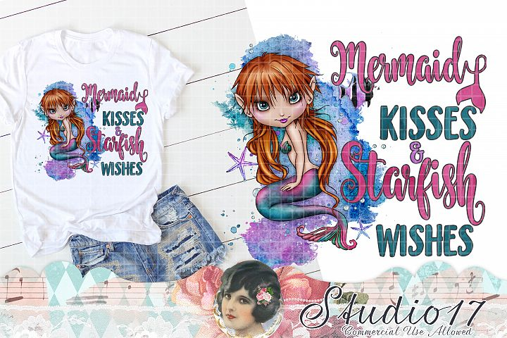 Mermaid Wishes and Starfish Kisses Sublimation Design