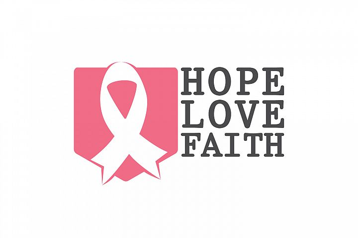 Hope, Love and Faith. Breast cancer awareness symbol.