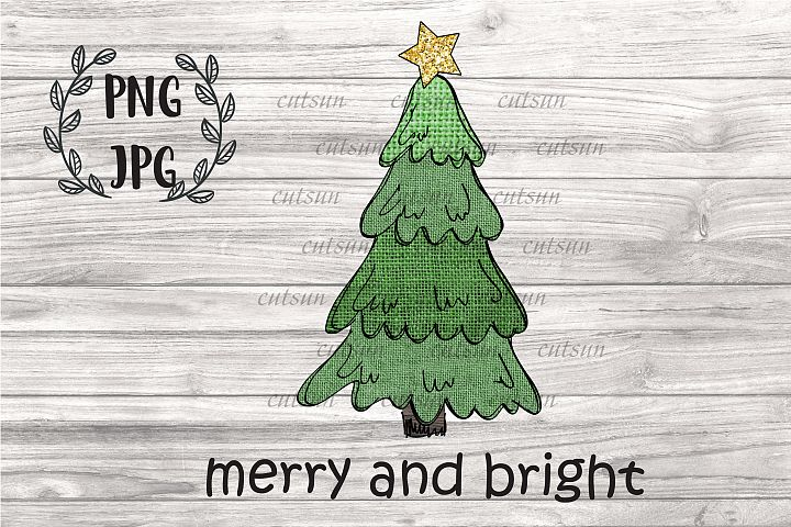 Christmas tree sublimation | Hand drawn Burlap Christmas tre