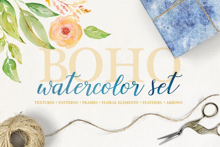 Boho watercolor set