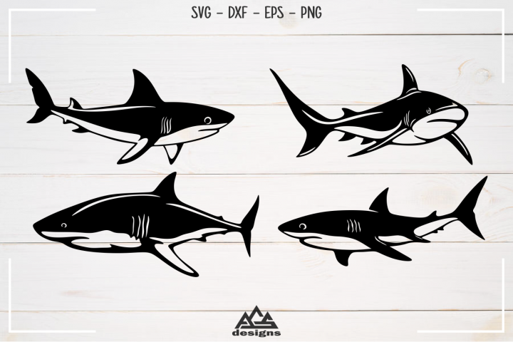 Sharks Sillhoutte Packs Svg Design