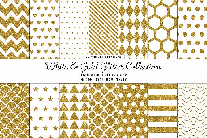 White and Gold Glitter Pattern Papers