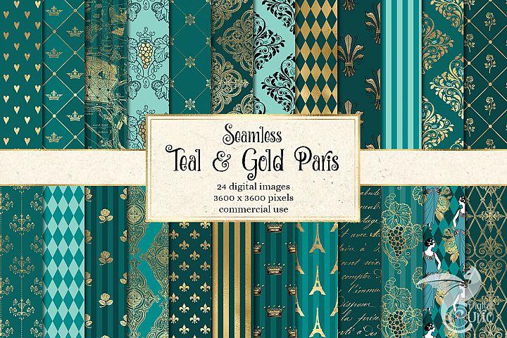 Teal and Gold Paris Digital Paper