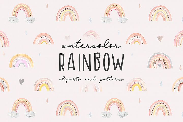 Watercolor Rainbow. Collection Patterns and Cliparts