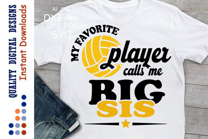 My favorite volleyball player calls me big sis svg