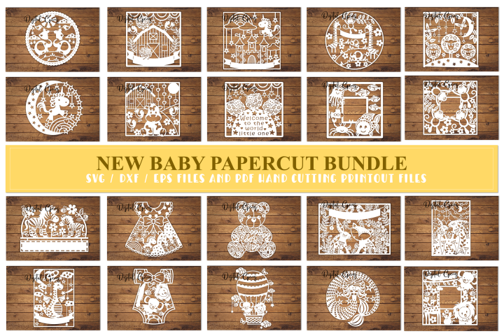 New baby paper cut Bundle. SVG / DXF / EPS files