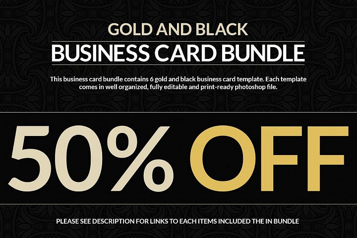 6 Gold And Black Business Cards Bundle