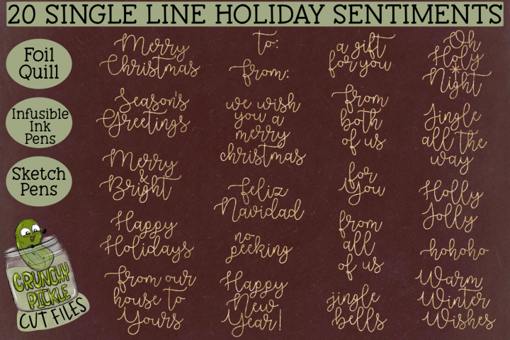 20 Foil Quill Christmas Sentiments set 1 / Single Line Sketc