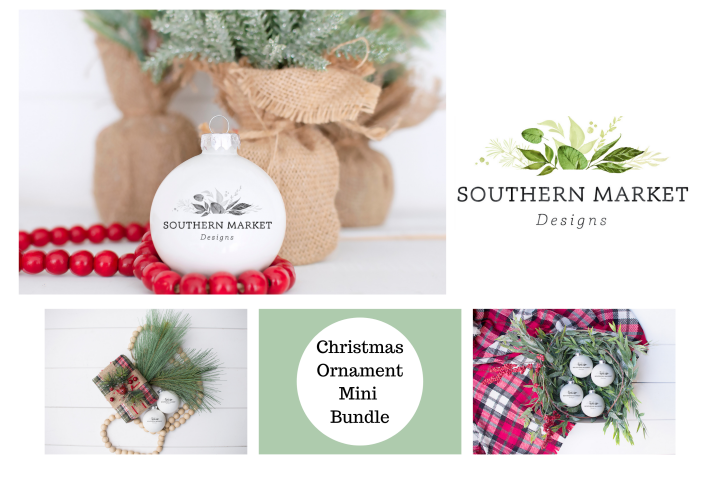 Ornament Christmas Mini Bundle Mock Up Styled Photography