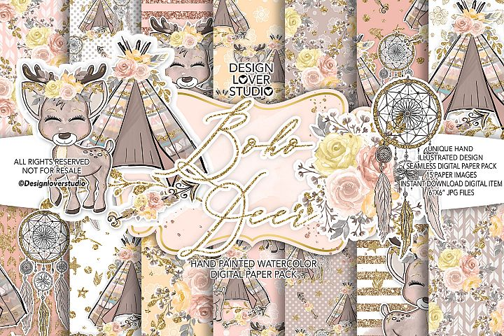 Boho Deer Cute digital paper
