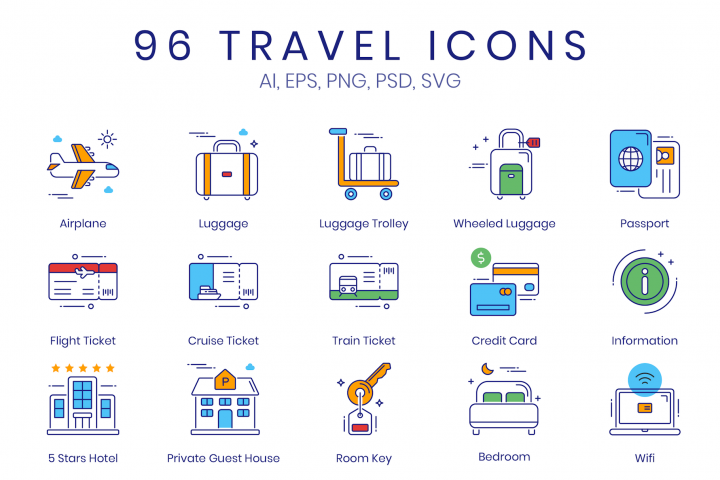96 Travel Icons ColorPop Series