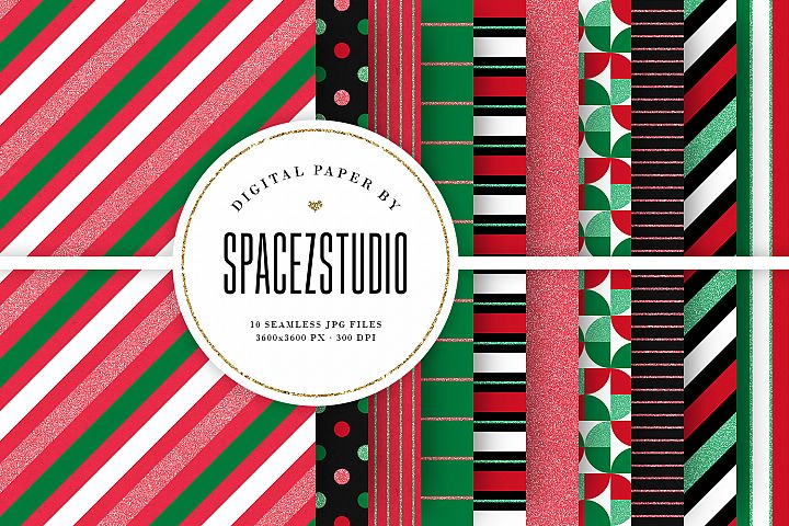 Christmas Colors & Glitter Seamless Geomteric Digital Paper