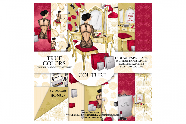 Make up Fashion Digital Paper Pack Haute couture Girl Fashio