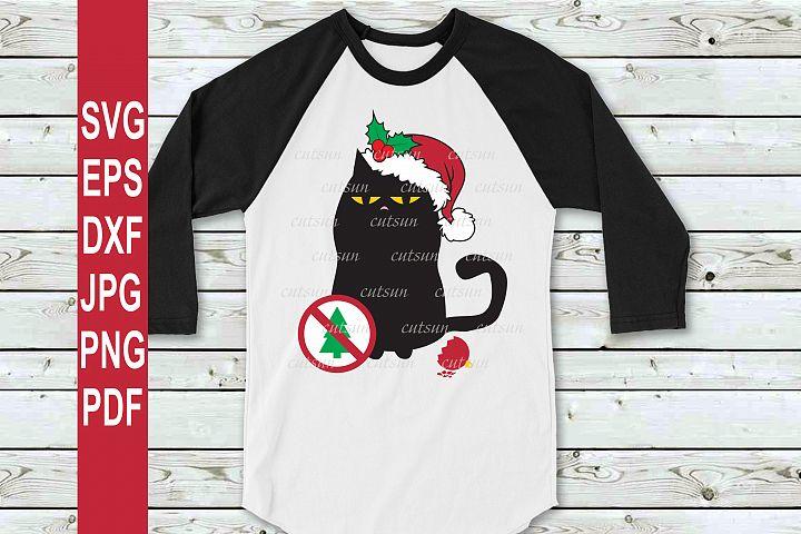 Christmas Cat SVG | Black cat Christmas SVG | Cat lover SVG