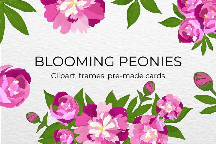 Blooming peonies set.
