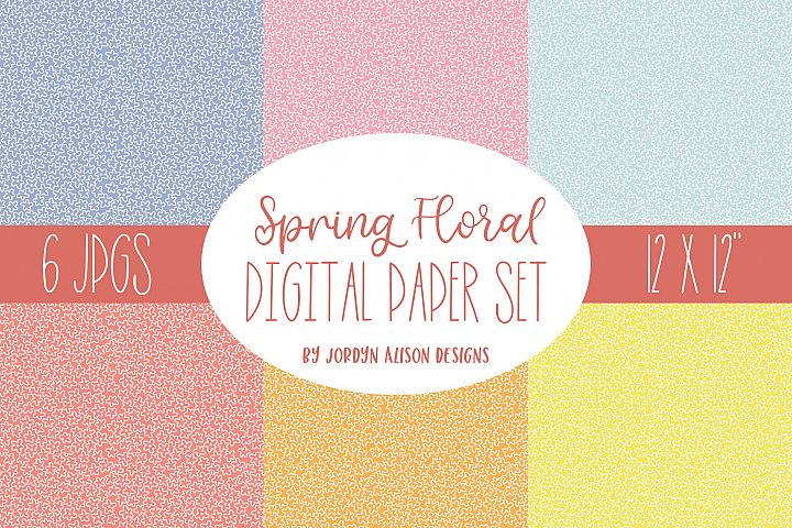 6 Spring Floral Digital Papers, Summer Pattern