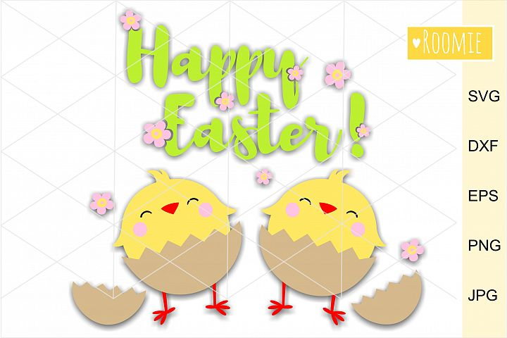 Happy Easter Chickens SVG. eggs SVG Silhouette, Cricut file