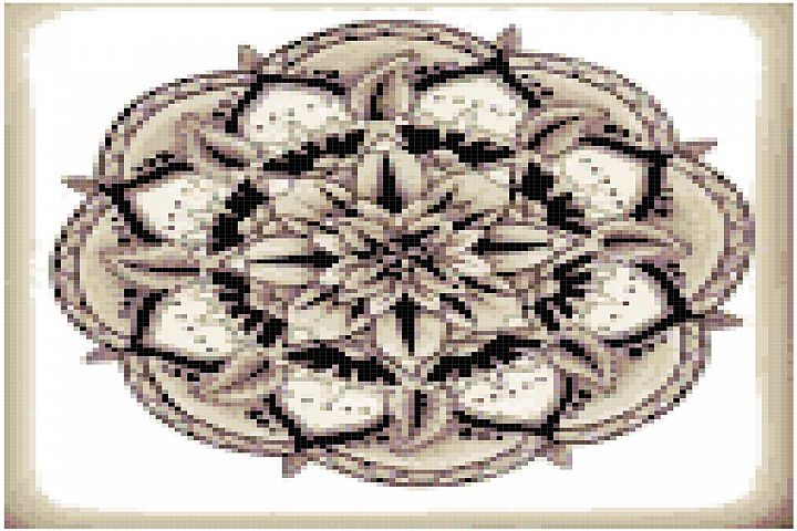 Sepia Mandala Cross Stitch Pattern