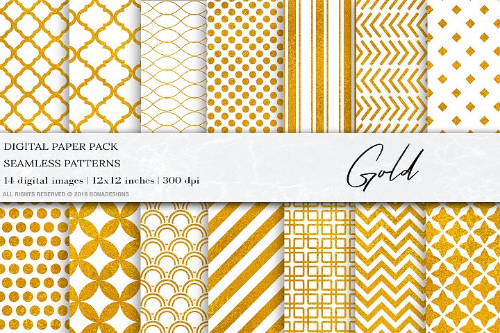 Gold Digital Paper, Gold Geometric Seamless Patterns,Wedding