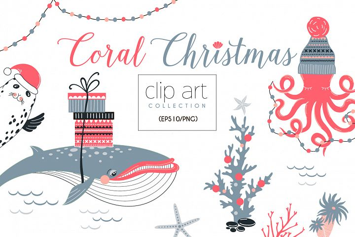 Underwater Christmas concept clip-art set