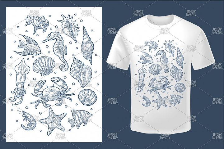 Set sea animal. Vector monochrome engraving