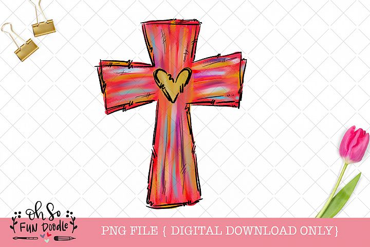 Easter cross with heart, sublimation design