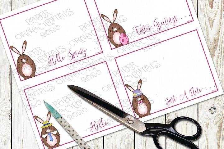 Flat Note Card, Post Card, Brown Easter Bunny Greetings