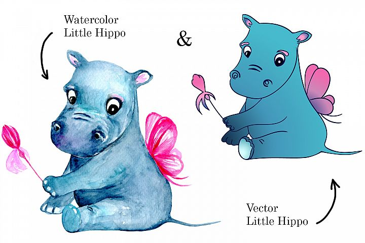 2 Little Fairy Hippo characters with magic wand