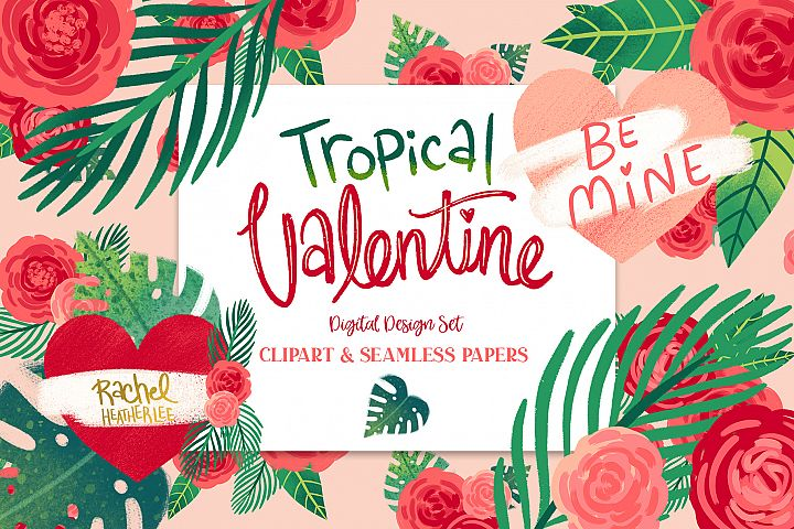 Tropical Valentine Clipart & Patterns
