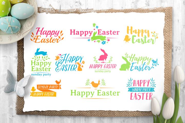 Happy Easter logo set