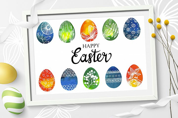 Watercolor Easter eggs, patterns