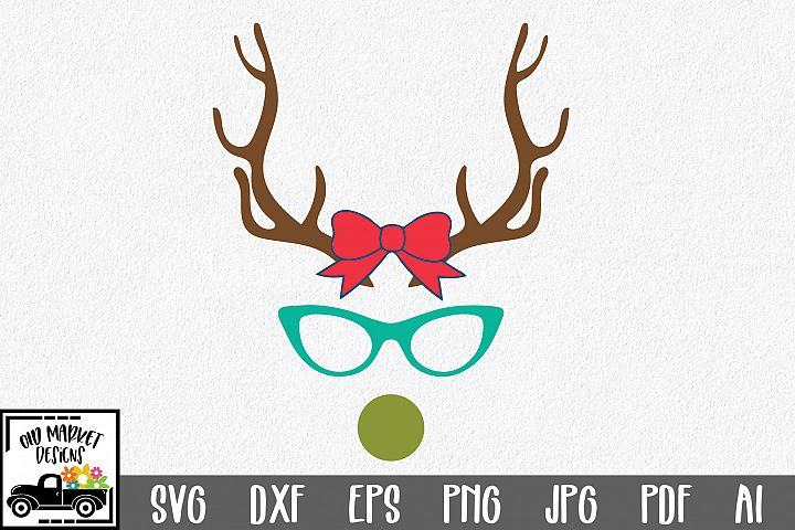 Christmas SVG Cut File - Girl Reindeer SVG DXF EPS PNG PDF