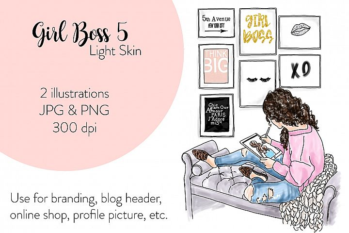 Fashion illustration - Girl Boss 5 - Light skin