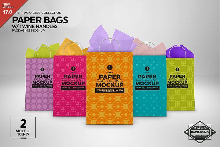 Paper Bags Twine Handles Packaging Mockup