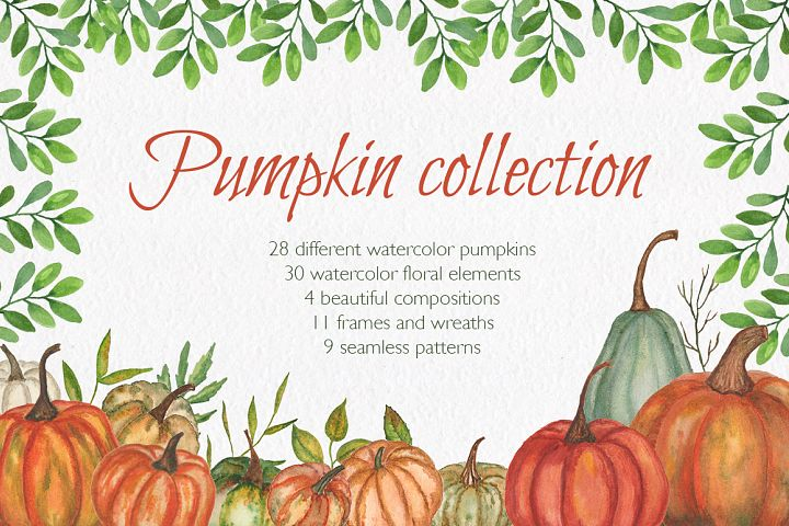 Pumpkin collection. Watercolor clipart.